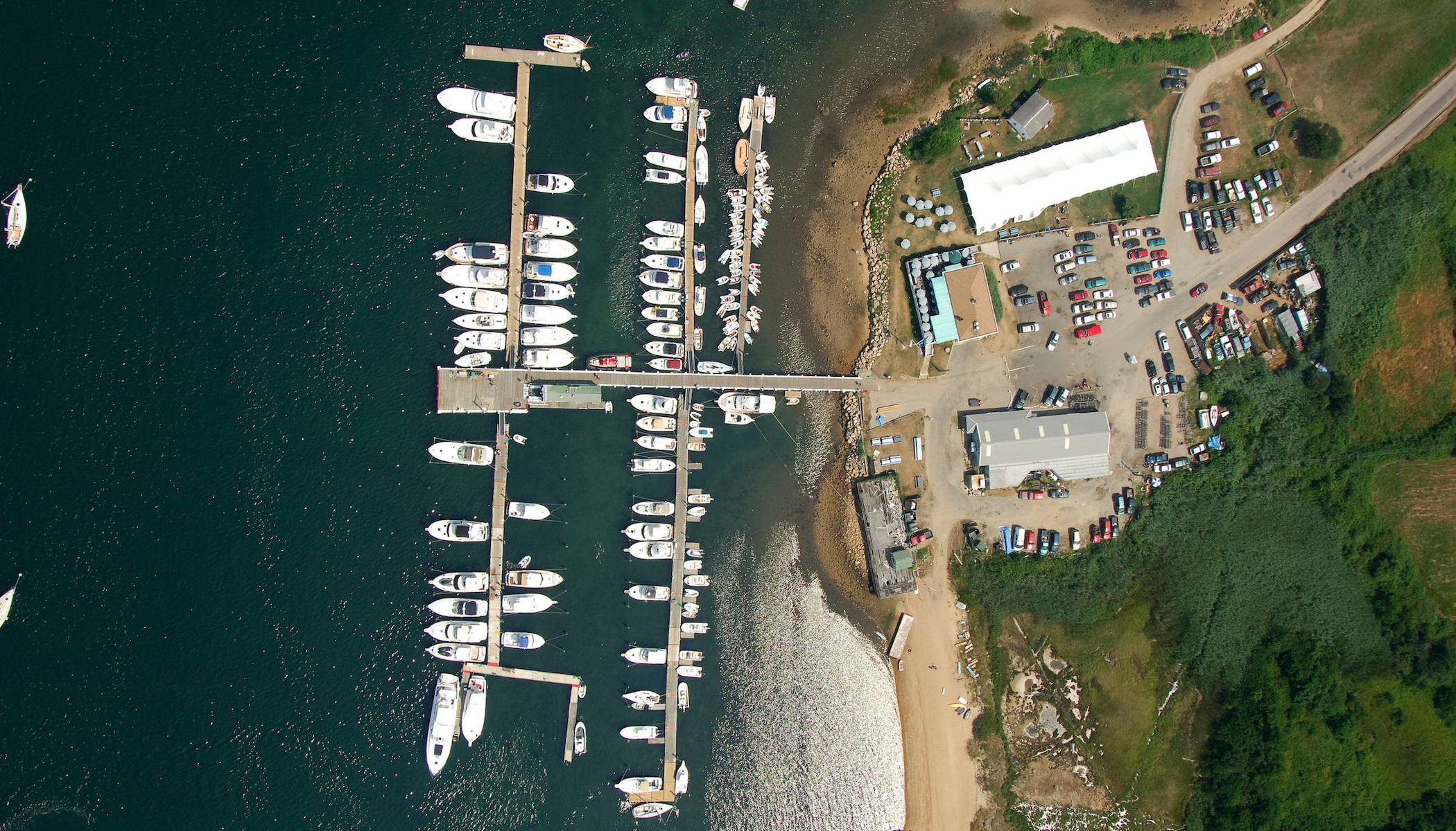New Harbor Boat Basin on Block Island birdseye view
