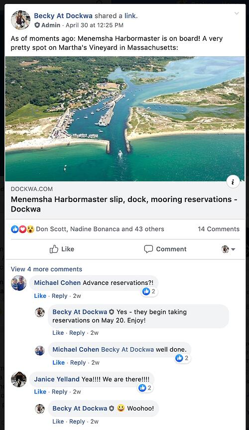 Dockwa Facebook Group