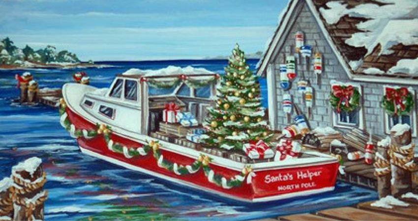 christmas santa at the dock